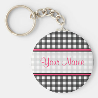 Charcoal Gray Gingham Keychain