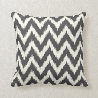 Charcoal Gray Ikat Chevron Cushion