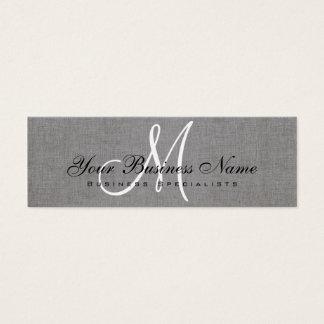 Charcoal Gray Linen Simple Monogram Mini Business Card