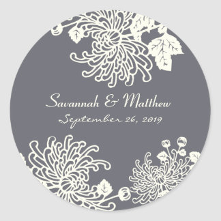 Charcoal Gray Modern Floral Wedding Heart Seal Round Sticker