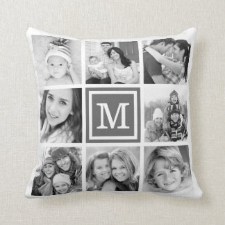 Charcoal Gray Monogram Instagram Photo Collage Cushion