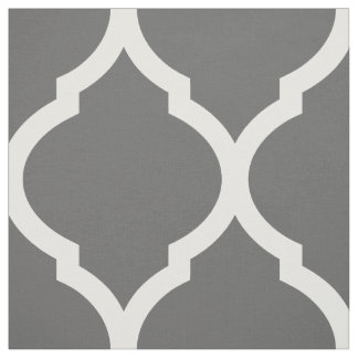 Charcoal Gray Moroccan Quatrefoil Large Scale Fabric