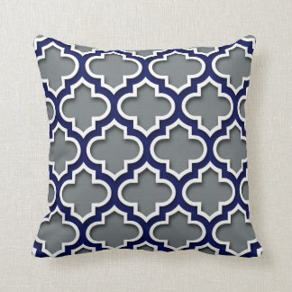Charcoal Gray Navy White Moroccan Quatrefoil #5DS Cushion