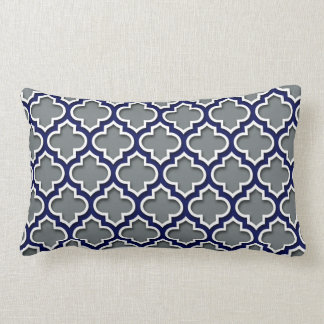 Charcoal Gray Navy White Moroccan Quatrefoil #5DS Lumbar Cushion