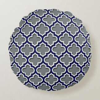 Charcoal Gray Navy White Moroccan Quatrefoil #5DS Round Cushion