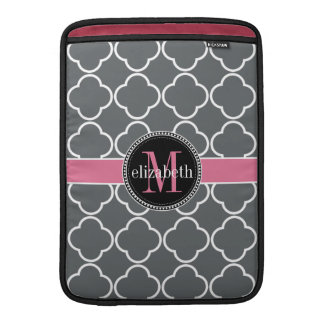Charcoal Gray  | Pink Quatrefoil Clover Monogram MacBook Sleeve