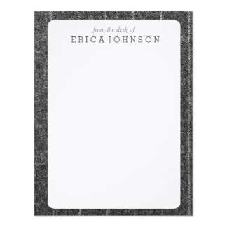 Charcoal Gray Pinstripe Tweed Slate Black Fabric 11 Cm X 14 Cm Invitation Card