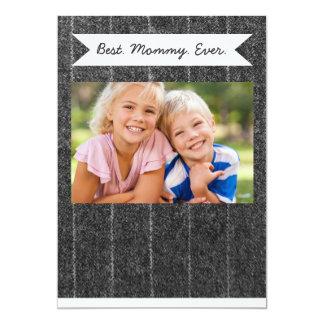 Charcoal Gray Pinstripe Tweed Slate Black Fabric 13 Cm X 18 Cm Invitation Card