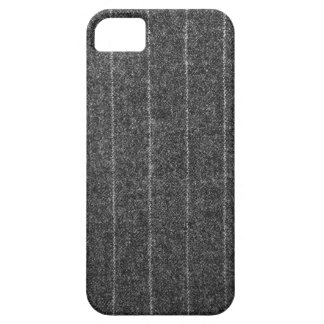 Charcoal Gray Pinstripe Tweed Slate Black Fabric iPhone 5/5S Cases