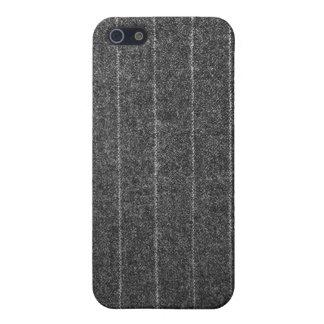 Charcoal Gray Pinstripe Tweed Slate Black Fabric iPhone 5 Case