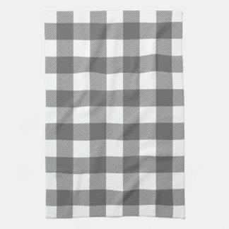 Charcoal Gray Preppy Buffalo Check Plaid Towels