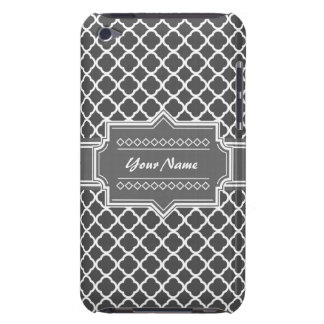 Charcoal Gray Quatrefoil Custom Personalized Name Barely There iPod Cases