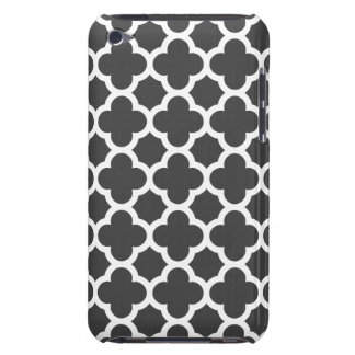 Charcoal Gray Quatrefoil Trellis Pattern Barely There iPod Cases