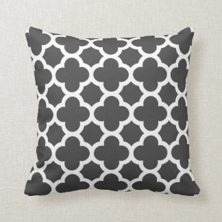 Charcoal Gray Quatrefoil Trellis Pattern Pillows