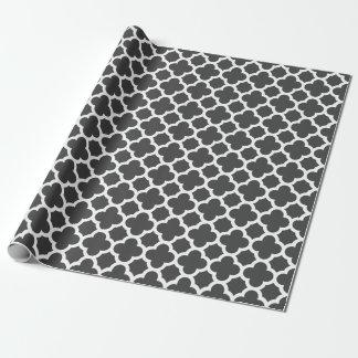 Charcoal Gray Quatrefoil Trellis Pattern Wrapping Paper