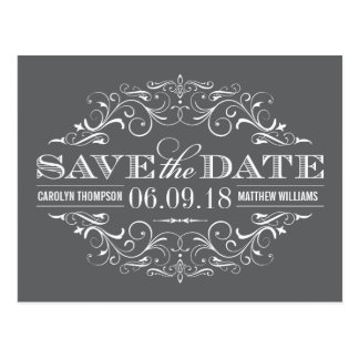 Charcoal Gray Save the Date | Swirl and Flourish Postcard