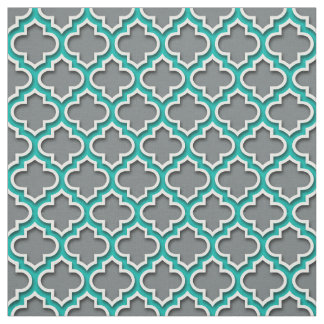 Charcoal Gray Teal White Moroccan Quatrefoil #5DS Fabric