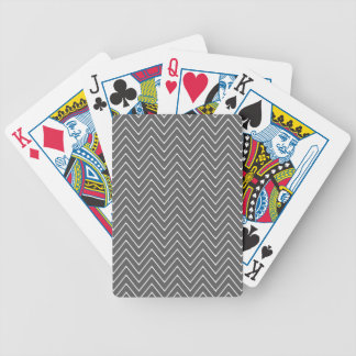 Charcoal Gray White Chevron Pattern 2A Bicycle Playing Cards