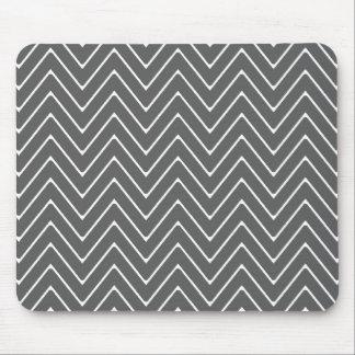 Charcoal Gray White Chevron Pattern 2A Mouse Pad