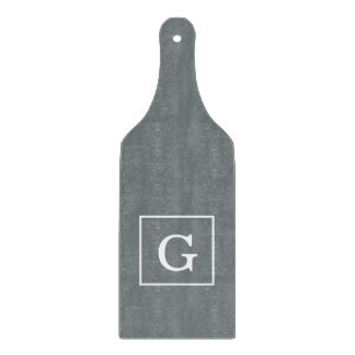 Charcoal Gray White Framed Initial Monogram Cutting Board