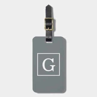 Charcoal Gray White Framed Initial Monogram Luggage Tag