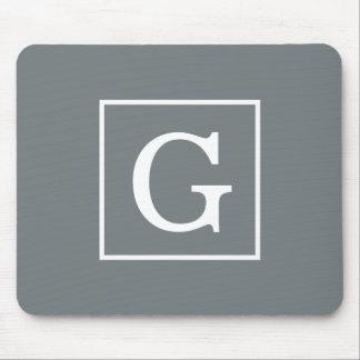 Charcoal Gray White Framed Initial Monogram Mouse Mat