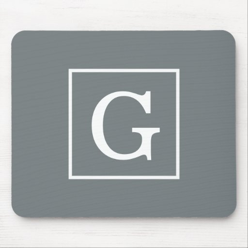 Charcoal Gray White Framed Initial Monogram Mouse Pads