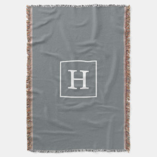 Charcoal Gray White Framed Initial Monogram Throw Blanket