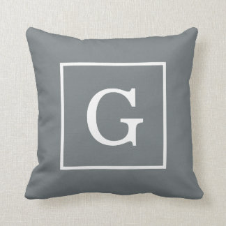 Charcoal Gray White Framed Initial Monogram Throw Pillow