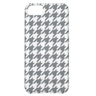 Charcoal Gray White Houndstooth Pattern #2 iPhone 5C Case
