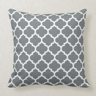 Charcoal Gray White Moroccan Quatrefoil Pattern #5 Cushion