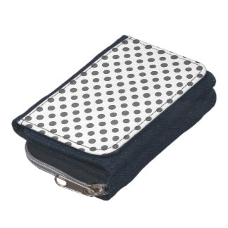 Charcoal Gray White Polka Dots Pattern Wallet