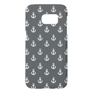 Charcoal Gray White Ships Anchors Pattern
