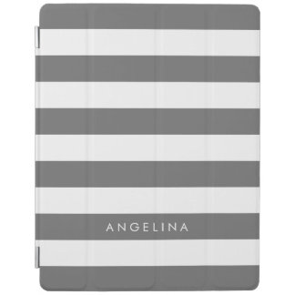 Charcoal Gray White Striped Pattern Custom Name iPad Cover