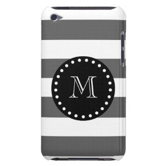 Charcoal Gray White Stripes Pattern, Black Monogra iPod Touch Covers