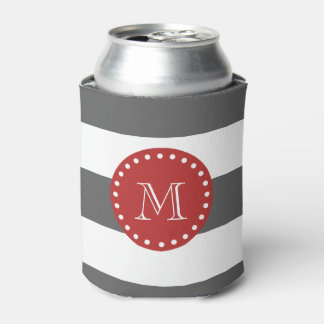 Charcoal Gray White Stripes Pattern, Red Monogram Can Cooler