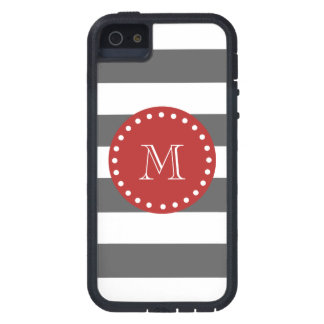 Charcoal Gray White Stripes Pattern, Red Monogram Case For The iPhone 5
