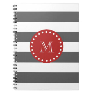 Charcoal Gray White Stripes Pattern, Red Monogram Notebook