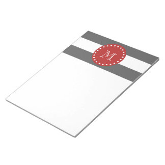Charcoal Gray White Stripes Pattern, Red Monogram Notepad