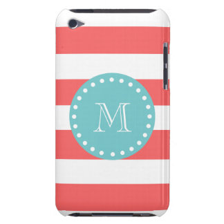 Charcoal Gray White Stripes Pattern, Teal Monogram iPod Touch Covers