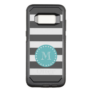 Charcoal Gray White Stripes Pattern, Teal Monogram OtterBox Commuter Samsung Galaxy S8 Case