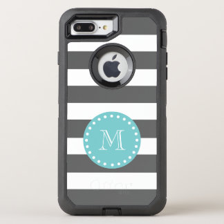 Charcoal Gray White Stripes Pattern, Teal Monogram OtterBox Defender iPhone 8 Plus/7 Plus Case