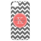 Charcoal Grey and Coral Chevron Custom Monogram iPhone 5 Cover