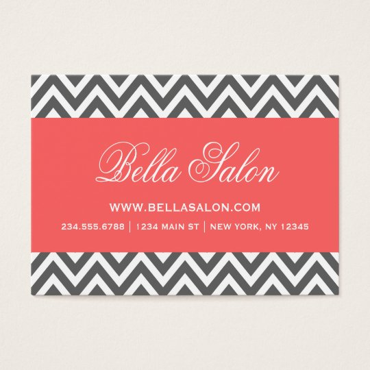 Charcoal Grey and Coral Modern Chevron Stripes Business