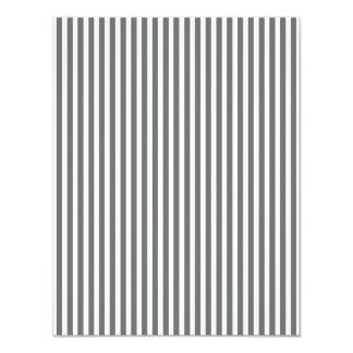 Charcoal Grey and White Cabana Stripes 11 Cm X 14 Cm Invitation Card