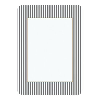 Charcoal Grey and White Cabana Stripes 11 Cm X 16 Cm Invitation Card