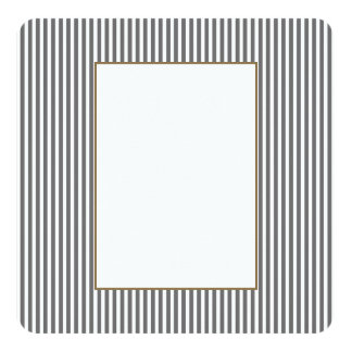 Charcoal Grey and White Cabana Stripes 13 Cm X 13 Cm Square Invitation Card