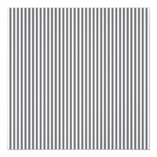 Charcoal Grey and White Cabana Stripes 13 Cm X 13 Cm Square Invitation Card