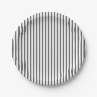 Charcoal Grey and White Cabana Stripes 7 Inch Paper Plate