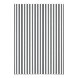 Charcoal Grey and White Cabana Stripes 9 Cm X 13 Cm Invitation Card